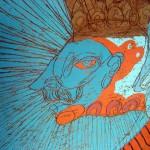 Rostro en uno de los murales